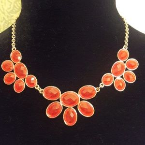 Red Jewel Statement Necklace